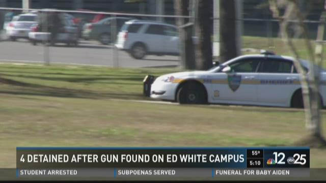 4 detained after gun found on Ed White campus