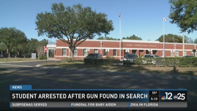 Student arrested after gun found in search