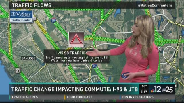 Traffic change impacting commute on I-95 and JTB