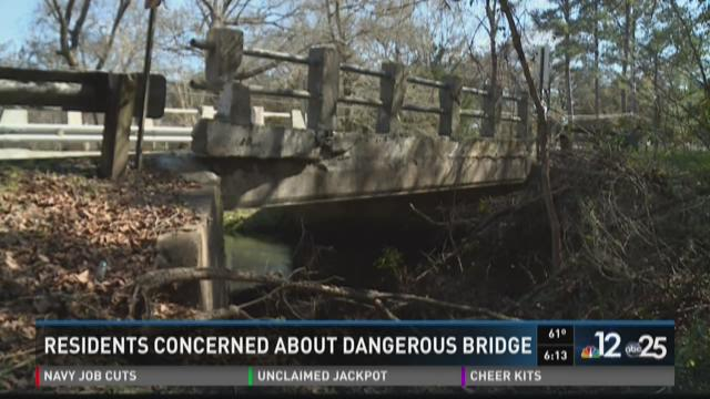Residents concerned about dangerous bridge