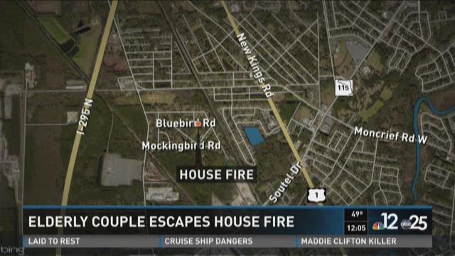 Elderly couple escapes house fire