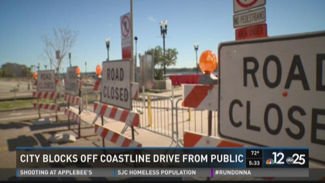 City blocks off Coastline Drive
