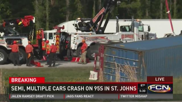 Semi, multiple cars crash on 95s in St. Johns