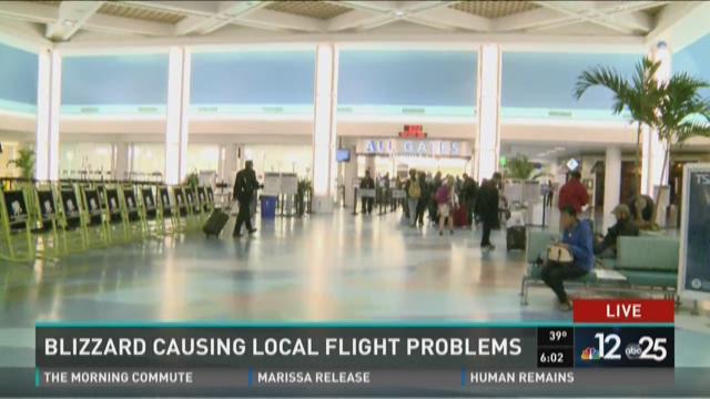 Blizzard causing local flight problems