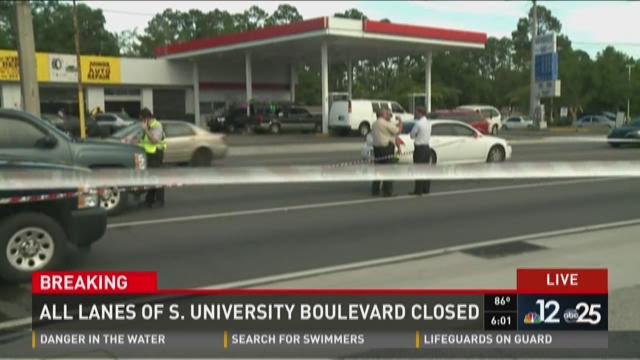 All lanes of S. University Boulevard closed