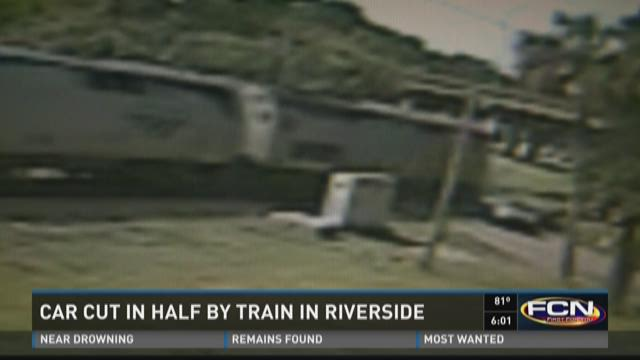 WATCH: Train slices Riverside car in two