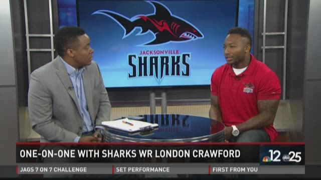 Chris Porter goes one-on-one with Sharks receiver London Crawford
