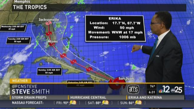 "Tropical Storm Erika's ""cone of concern"" as of 11 p.m."