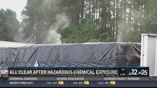 The chemical is not combustible but forms a flammable