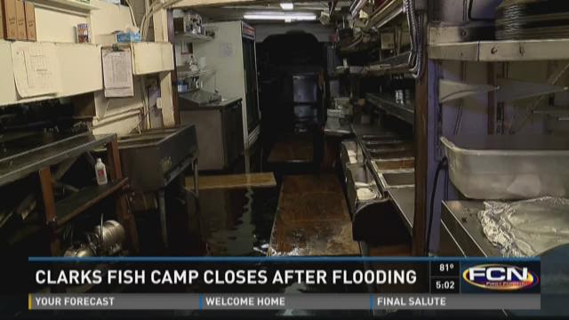 Popular fish camp underwater due to rain high tide for Clark s fish camp seafood restaurant